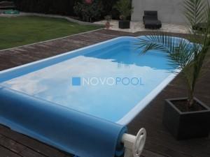 przykrycie lustra wody, przycie basenu, folia solarna, folia basenowa, novopool, baseny ogrodowe, basen w ogrodzie